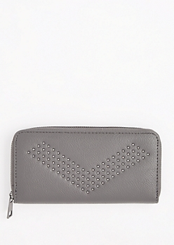 Gray Studded Chevron Wallet