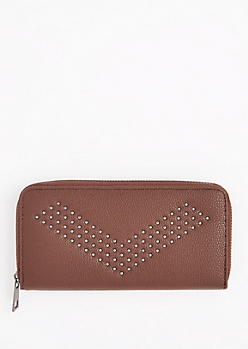 Brown Studded Chevron Wallet