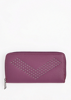 Purple Studded Chevron Wallet