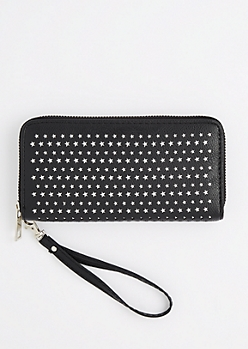 Black Perforated Stars Wristlet Wallet