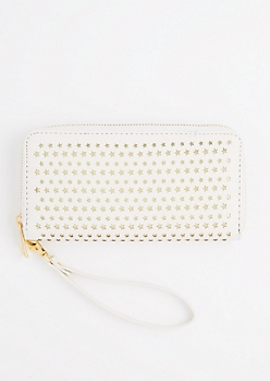 White Perforated Stars Wristlet Wallet