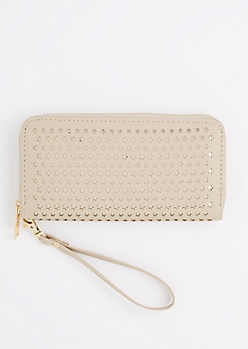 Tan Perforated Stars Wristlet Wallet