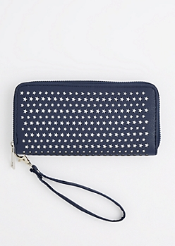 Navy Perforated Stars Wristlet Wallet
