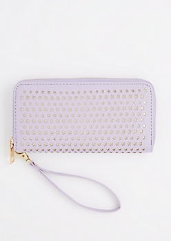 Violet Perforated Stars Wristlet Wallet