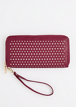 Burgundy Perforated Stars Wristlet Wallet
