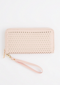 Pink Perforated Stars Wristlet Wallet