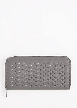 Gray Metallic Studded Wallet