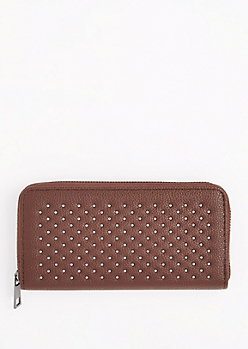Brown Metallic Studded Wallet