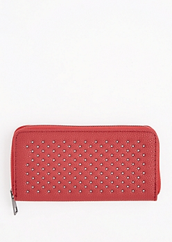 Burgundy Metallic Studded Wallet