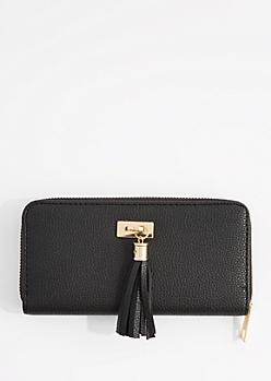 Black Tassel Fringe Charm Wallet