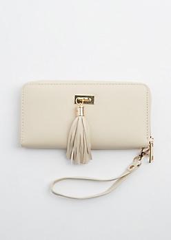 Ivory Tassel Fringe Charm Wallet