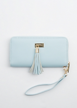Light Blue Tassel Fringe Charm Wallet