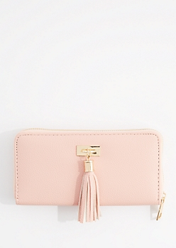 Light Pink Tassel Fringe Charm Wallet