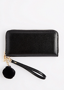 Shiny Black Zip Around Pom Wristlet