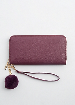 Purple Zip Around Pom Wristlet