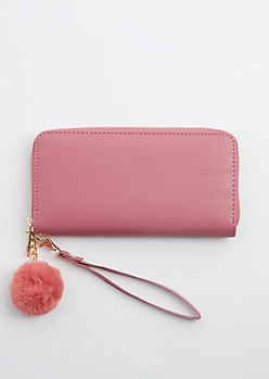 Pink Zip Around Pom Wristlet