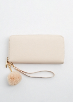 Light Pink Zip Around Pom Wristlet