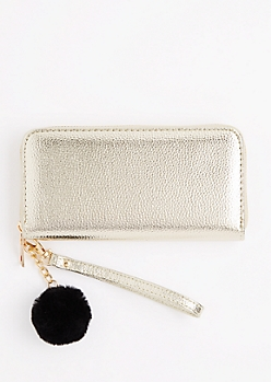 Gold Zip Around Pom Wristlet