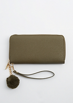 Olive Zip Around Pom Wristlet