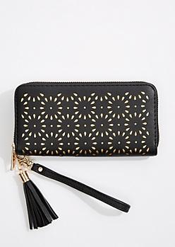 Black Floral Cutout Wristlet