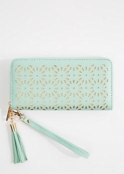 Mint Floral Cutout Wristlet