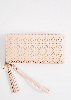 Pink Floral Cutout Wristlet