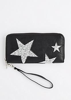 Black Glitter Stars Wristlet Wallet