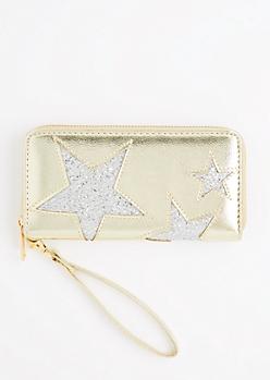 Gold Glitter Stars Wristlet Wallet
