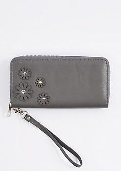 Gray Daisy Applique Vegan Leather Wristlet