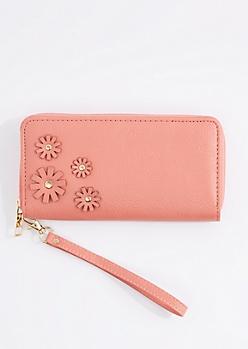 Pink Daisy Applique Vegan Leather Wristlet