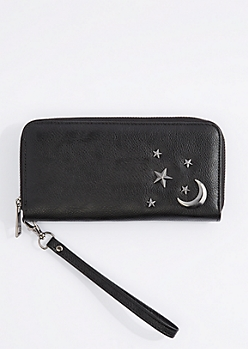 Black Starry Night Studded Wristlet