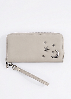 Gray Starry Night Studded Wristlet
