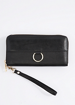 Black Vegan Leather Keyring Wristlet