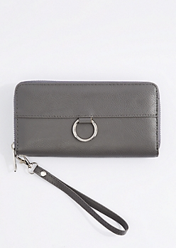 Gray Vegan Leather Keyring Wristlet
