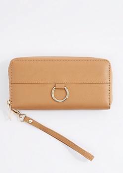 Cognac Vegan Leather Keyring Wristlet