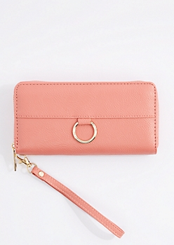 Pink Vegan Leather Keyring Wristlet