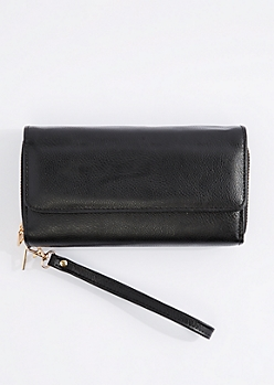 Black Double Zip Wristlet