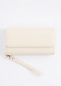 White Double Zip Wristlet