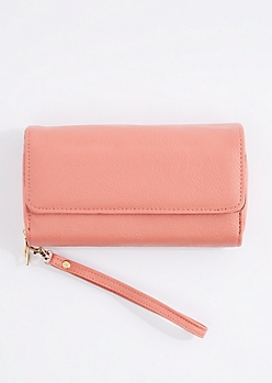 Pink Double Zip Wristlet