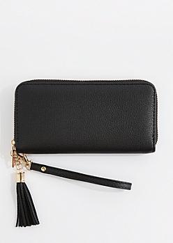 Black Vegan Leather Tassel Wristlet
