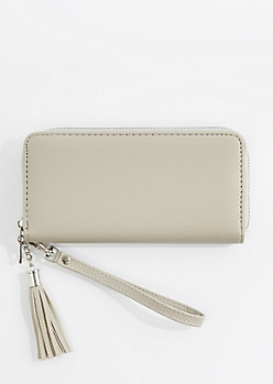 Gray Vegan Leather Tassel Wristlet