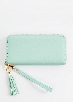 Mint Vegan Leather Tassel Wristlet