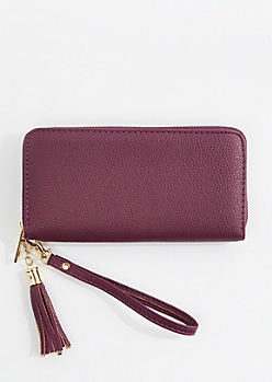 Plum Vegan Leather Tassel Wristlet