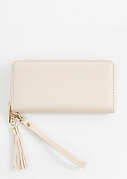 Pink Vegan Leather Tassel Wristlet