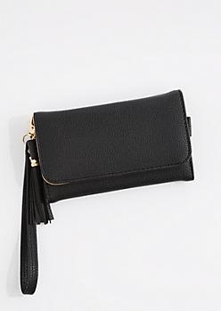 Black Tasseled Smartphone Wristlet