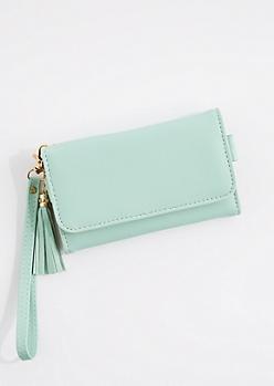 Mint Tasseled Smartphone Wristlet