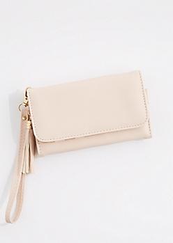 Pink Tasseled Smartphone Wristlet