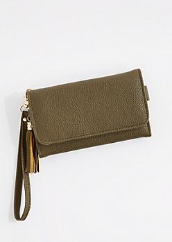 Olive Tasseled Smartphone Wristlet