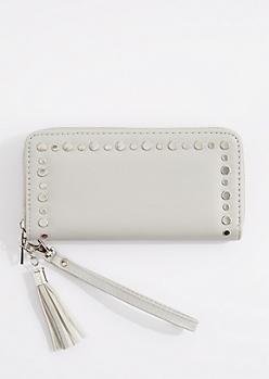 Gray Flat Studded Wristlet