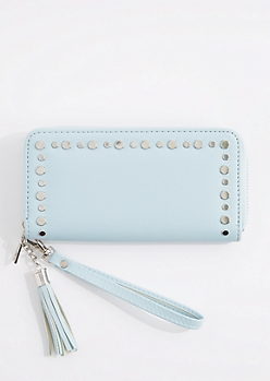 Light Blue Flat Studded Wristlet
